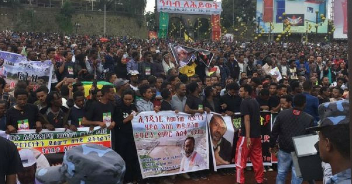 Dressed in black costumes, some with the image of Simegnew Bekele, scores of people turned out in huge number from all the corners of the capital and its immediate surroundings