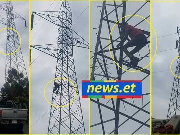 Youth rescued in Addis Ababa after climbing high-voltage tower