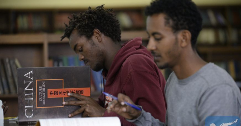 File photo shows students study at a library in the Addis Ababa University, Addis Ababa, capital of Ethiopia, March 28, 2017. (Xinhua/Michael Tewelde)