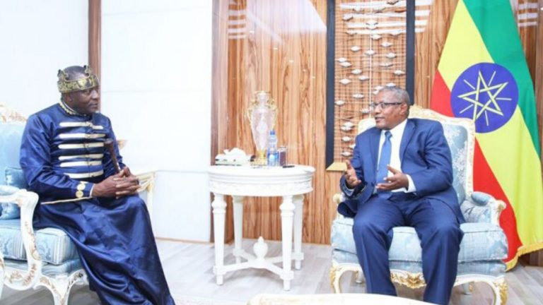 FM Gedu confers with Ivorian Tribal King Tchiffie Zie Jean Gervais